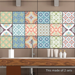 Wholesale Wall Stickers Tile - 10pcs set Mediterranean style Wall Sticker 20*20cm Kitchen Bathroom Toilet Waterproof Adhesive PVC Wallpaper Home decorative Tiles Stickers