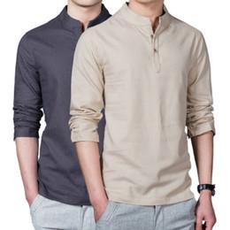 17d49cff97175b 2019 mandarin hals shirts Neue Frühling Sommer Casual Männer Leinenhemd  Langarm Solide V-ausschnitt Kragen