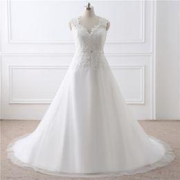 Wholesale Dresses Bride Stones - V neck Lace Court Train Beaded Wedding Dresses 2017 New Simple Appliques Stones Custom Made Long Women Bride Bridal Red Carpet Gowns 30267