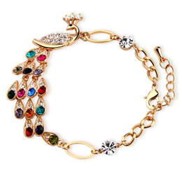 Wholesale Free Sparkles - Beautiful Colorful peacock bracelet sparkling crystal Phoenix bracelet wholesale Free Shipping