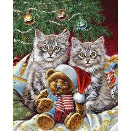 Wholesale Teddy Wall Decor - Christmas Cat&Teddy Bear DIY 100% Full Drill Diamond Painting Home Wall Decor 5D Diamond Mosaic Cross Stitch Embroidery (Free Shipping)