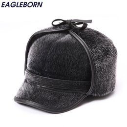 Wholesale Warm Russian Hats For Men - Wholesale- Winter Warm Fur Bomber Hats Men High Quality Russian Snow Hat with Earflaps Thicken Outdoor Bonnet for Men Retro Soft Foldable