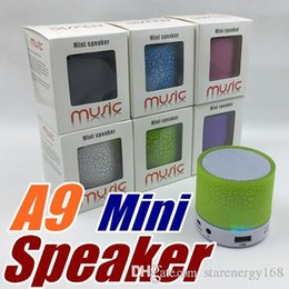 Wholesale Iphone Sound Bluetooth - A9 New LED Wireless Speaker Portable Mini Bluetooth Speakers With Smart Bulb Support TF Card USB For IPhone Samsung Xiaomi MP3 L-YX