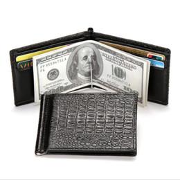 Wholesale Credit Card Long Slim Holder - Fashion Men Women Plain Slim Crocodile Bifold Wallet Creative Classic Mini Card Holder Purse Wallet