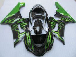 Carenados inferiores online-Kit de carenado de plástico de menor precio para Kawasaki Ninja ZX6R 05 06 green flames black fairings set ZX6R 2005 2006 ZM31