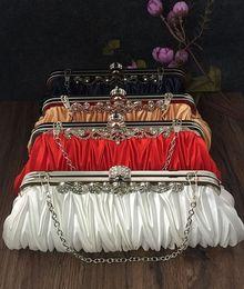 Wholesale Purple Satin Purse - 1pc Satin Bridal Handbag Makeup Tote Bag Wedding Party Prom Clutch Purse Evening Bag by goodfairth girl free shipping