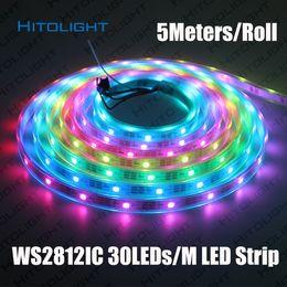Wholesale Addressable Led Strips - HITOLIGHT 5Meters DC5V Individually Addressable WS2812B LED Strip Light White Black PCB 30LEDs m Smart RGB 2812 LED Tape Ribbon Waterproof