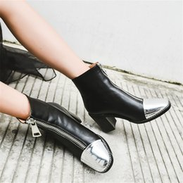 Wholesale Heel Booties For Women - 2017 European Designer Square Toe New Boots Chunky High Heel Ankle Booties Zip Up Mixed Color Fashion Vintage Shoes For Women A795