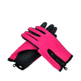 Wholesale Fleece Table Warmer - Outdoor Riding Thickening Warm Touch Screen Gloves Bicycling Motorcycle Wind Proof Fleece Fabric Roseo Black Skiing Gloves For Women And Men