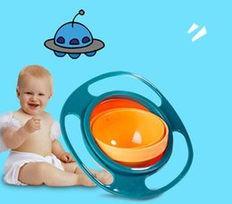 Wholesale Food Bowls - 360 Rotating Kid-Proof Non Spill Feeding Toddler Gyro Bowl With Lid Avoid Food Spilling Children Creation Bowl As Feeding Supplies