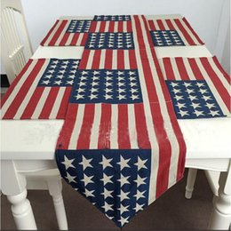 Wholesale Table Mats Design - 33*145cm USA Flag Table Runner The United States Flag Pattern Cotton Boutique Art Jacquard Design Decoration Mat Table Cloth Cup Mat