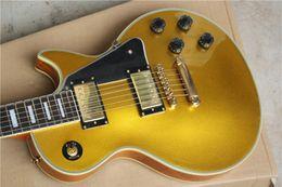 Wholesale Pickguard Ply White - Custom Gold Top Goldtop Electric Guitar Black Pickguard 5 Ply Body Binding Trapezoid White MOP Fingerboard Inlay Split Diamond Headstock