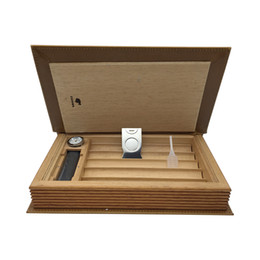 Wholesale Book Cutter - New Arrivals Book Style COHIBA Brown Color Leather Cedar Lined Cigar Holder Cigarette Humidor with Cutter