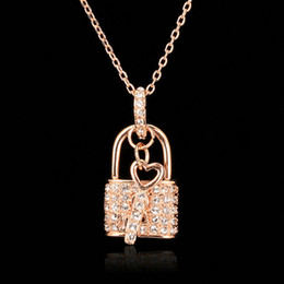Wholesale Key Charms Brass - Unique Lock & Key CZ Diamond Necklaces & Pendants 18K Rose Gold Plated Fashion Brand CZ Diamond Jewelry For Women Charm Accessiories DFN402