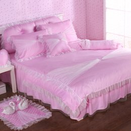 Wholesale Korean Bedspreads - Korean style lace bedspreads princess bedding sets twin queen size 4pcs pink duvet cover bed skirt bedclothes bed set pillowcases cotton