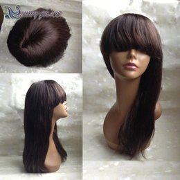 Wholesale Straight Lace Wig Bangs - SunnyGrace human hair full lace wig with bangs dark brown # 2 silky straight wholesale indian remy hair lace front wig