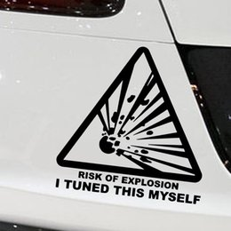 Wholesale Wall Decal Cars Trucks - Warning Sign Risk of Explosion Gas JDM Funny Car Stickers for Motorhome Wall Truck SUV Window Car Styling Vinyl Decal 10 Colors Jdm