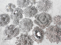 Wholesale wholesale rhinestones supplies - 15 Pcs Lot Mixed Styles Silver Plated Diamante Crystal Brooch Wedding Bouquet Accessory DIY Bridal or Party Bouquet Supplies