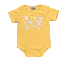 Wholesale Girls Shorts Only - INS Baby boy girl clothes kids short sleeve romper infant jumpsuit toddler clothing set letter you are my sunshine only fashion top