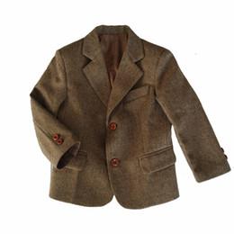 Wholesale Boys Brown Jacket - 2017 New Custom Made Rustic Wedding Herringbone Harris Tweed Boy's Formal Wear Tuxedos Outerwear Kids Vest Slim Fit boys Suits(Jacket+pant)