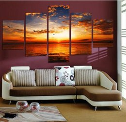 Wholesale Wall Decor Panels Beach - 5 Pcs Colorful Clouds Beach Seaview Sunset Picture Canvas Painting for Home Decor Living Room Wall Art