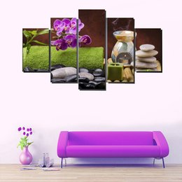 Wholesale Purple Picture Frames - No Frame On The Wall Canvas Paintings For Living room 5 Panel Purple flower and Stone Scenery Printed picture