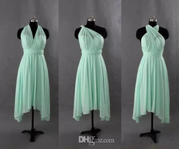 Wholesale Turquoise Blue Short Dresses - Chiffon Short Convertible Bridesmaid Dress Turquoise Mint Green Wedding Party Gowns New Bridesmaid Gowns Custom Made