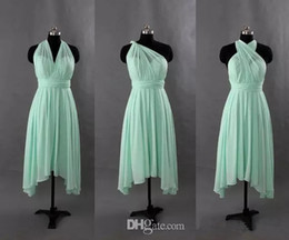 Wholesale Turquoise Backless Dresses - Chiffon Short Convertible Bridesmaid Dress Turquoise Mint Green Wedding Party Gowns New Bridesmaid Gowns Custom Made