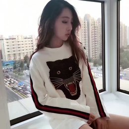 Wholesale Embroidered T Shirt Woman - New lady long t shirt embroidered panther half skirt sweater spring and summer wild autumn and winter high quality uniform size