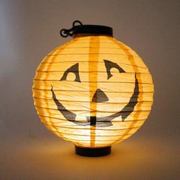 Wholesale Pumpkin Led Lights - Halloween Paper Lanterns Hanging Pumpkin Lantern with Halloween Holiday Decoration Lanterns with LED Light Skeleton Bats Jack-O Spiders