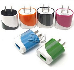 Wholesale Dual 1a Usb Phone Charger - Dual Colors 5V 1A USB US EU Plug Home AC Power Adapter Wall Charger For All Mobile Phone Tablet Ipad Apple Samsung Galaxy