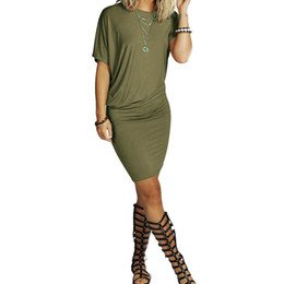 Wholesale Womens Military Army Green - 2017 summer hip short sleeve dress Bat sleeve Slim dress womens leisure dresses orange, black, military green DZ021
