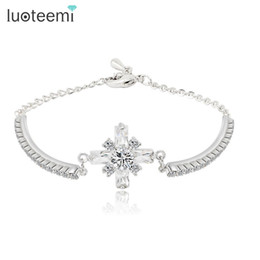 Wholesale Snow White For Girls - LUOTEEMI Brand Hot Sell Snow Shape Bracelets Bangles with AAA+ Cubic Zirconia and Rhinestones for Women Girls Gift Jewley