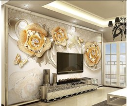 Wholesale Gold Wallpapers - New Custom 3D Beautiful exquisite European gold rose butterfly TV wall