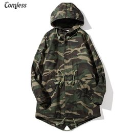 Wholesale Camouflage Outwear - Wholesale- Streetwear 2016 Camouflage Jacket Men Causal Camo Long Hooded Collar Outwear Jackets And Coats Mens Windbreaker Clothing S-5XL