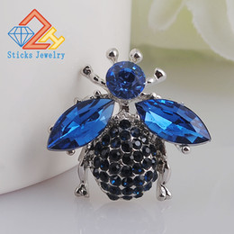 Wholesale Rhinestone Bee Brooch - High Quality Bee Brooches Blue Rhinestone Brooch Fashion Animal Jewelry Wedding Gift Good Free Shipping