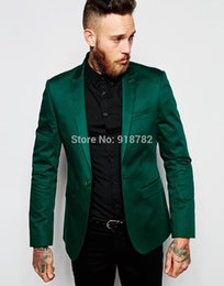 Wholesale best selling groom tuxedos - Wholesale- Best Selling 2016 Satin Green Tuxedo Jacket And Black Pants Dinner Party Prom Suits Groom Tuxedos Groomsmen Wedding Suits