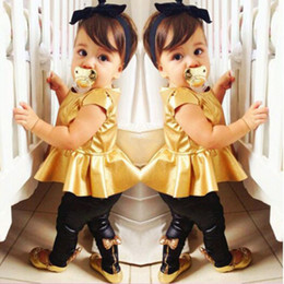 Wholesale Toddler Fur Dresses - Wholesale- Fashion Baby Girl Toddler Sets Shirt Dress Legging Pants Set Baby Children Clothing Sets Outfits Kids Girls Summer Clothes