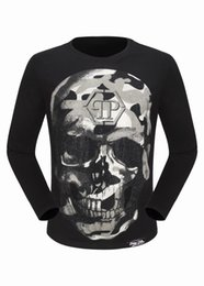 Wholesale White Cotton Fitted Tee Shirts - 2017 New Tide Brand Cotton Long sleeves Fit Slim Casual Tee Print 3D Print Skulls desinger MENS T-shirts Cotton Top quality P18112 M-3XL