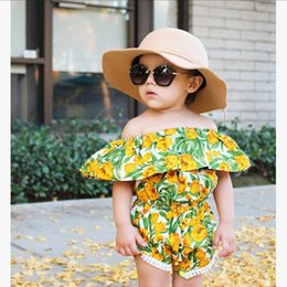 Wholesale Christmas Tutu Toddler - Baby Girls Large Flower Print Rompers 2017 Summer Kids Boutique Clothing America Euro Infant Toddlers Off Shoulder Rompers