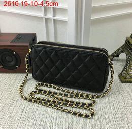 Wholesale Genuine Leather Clutch Evening Bag - New arrivals Luxury Woc Bag Wallet On Chain Women Caviar Leather Mini zipper Messenger Bags Clutch Plaid Evening bag