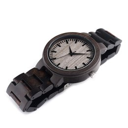 Wholesale Miyota Watches - Natural Wood Mens Watch Wooden With Black Sandalwood Sports Watches Japanese Miyota 2035 Quartz Movement Round Dial Analog SY-WD224