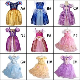 Wholesale Beauty Shorts - fast shipping belle princess dress girl purple rapunzel dress Sleeping beauty princess aurora flare sleeve dress for party birthday in stock