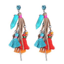 Wholesale Turquoise Gold Costume Jewelry - Bohemia Velvet Fringe Pendants Multi Color Tassel Drop Dangle Earrings for Women Long Earrings Fashion Statement Jewelry Party Costume