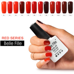 Wholesale Glitter Soak Off Gel Polish - Wholesale- 10ml Red Series Nail Enamel Gel Finish Polish Soak Off Sexy Mix Gel Lak Nail Kits With Lamp Glitter Glue Peel Off Base Coat