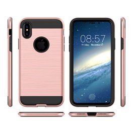 Wholesale Blue Grass Covers - For iphone X Dual Layered Anti-Shock Hard cover For iphone 8 7 6 plus samsung s8 plus Note 8 Hybrid Armor Case