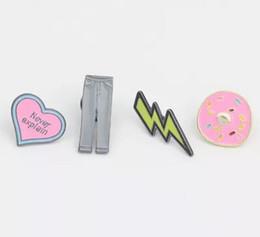 Wholesale Enamel Heart Pin - Japanese cartoon cute enamel Brooch Student jewelry Heart Lightning Cake Pants drop glaze Brooch Pins Badge Pinback Button Corsage Gift