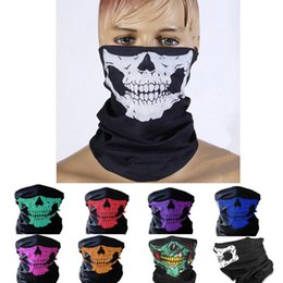 Wholesale Halloween Ghost Faces - Halloween Event Party Halloween Scary Mask Festival Skull Masks Skeleton Motorcycle Bicycle Masks Scarf Half Party Face Mask Cap Neck Ghost