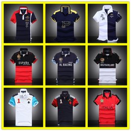 Wholesale Gold Paint Sale - 2017 Hot Sale Fashion Casual Men's Shirt Berlin Paris London Rome New York Milan Short Sleeve With Big Horse Embroidery Polo T Shirts