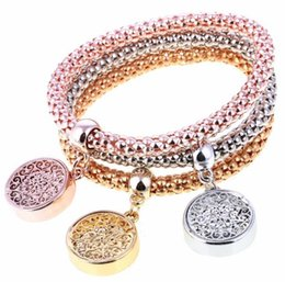 Wholesale Crystal Rhinestone Sliders - Popular and Three Color Flower Chakra Bracelet Round Shape Crystal Charms Bracelets 3pcs Set Women Jewelry Wholesale